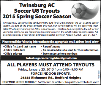 Spring 2015 U8 Tryouts